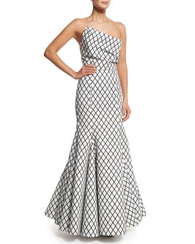 Aria Diamond-Print Mermaid Gown, Black/White