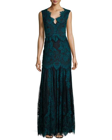 ERIN erin fetherston Joanna Cap-Sleeve Lace Gown