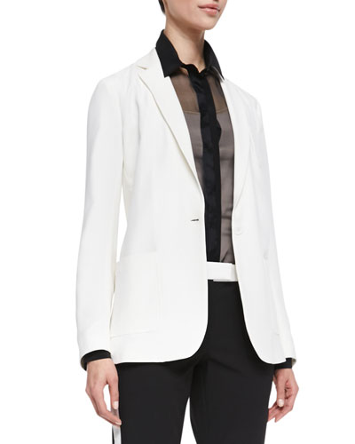 New Deauville One-Button Jacket, White