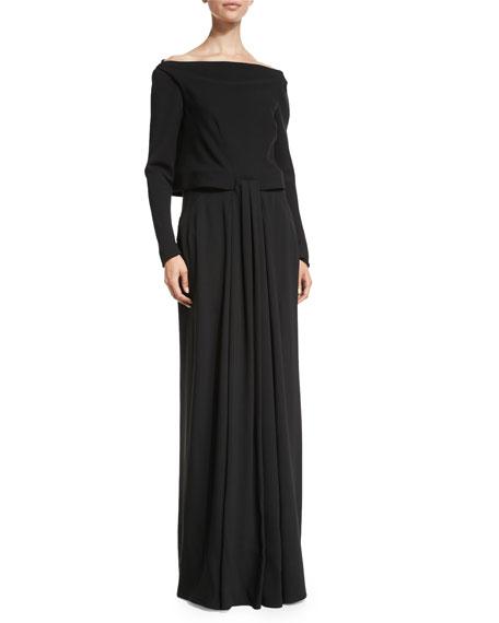 Zac Posen Long-Sleeve Popover Gown, Black
