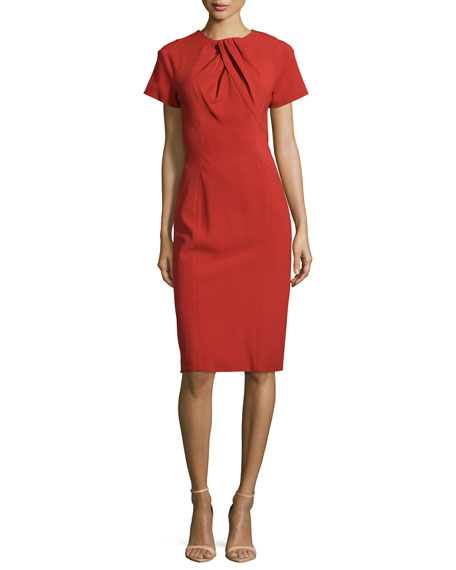 Zac Posen Short-Sleeve Pleated-Neck Dress, Tangerine