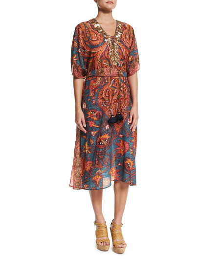 Figue Brianna Embellished-Front Caftan Coverup