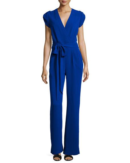 Diane von Furstenberg Purdy Short-Sleeve Belted Jumpsuit, Cosmic