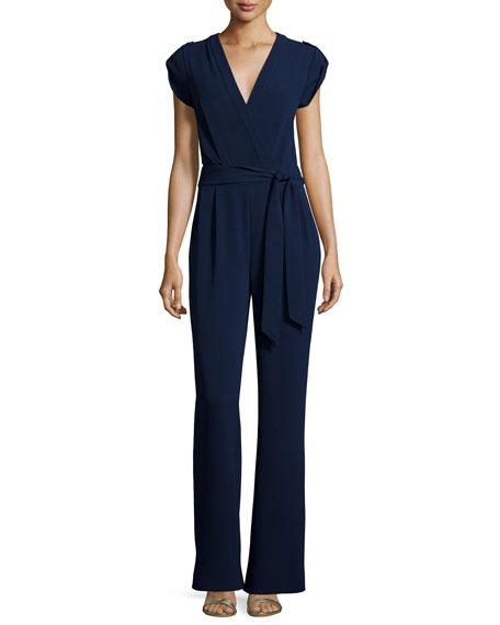 Diane von Furstenberg Purdy Cap-Sleeve Crepe Jumpsuit, Navy