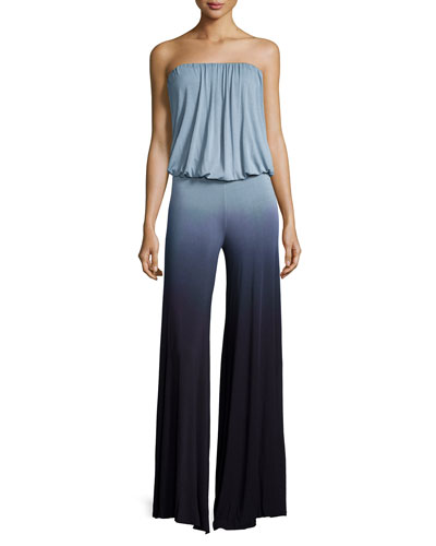 Sydney Ombre Strapless Jumpsuit, Charcoal