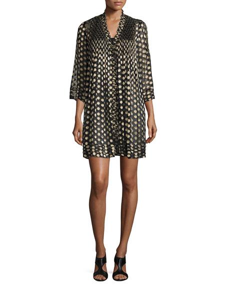Diane von Furstenberg Layla Polka-Dot Shift Dress, Black/Gold