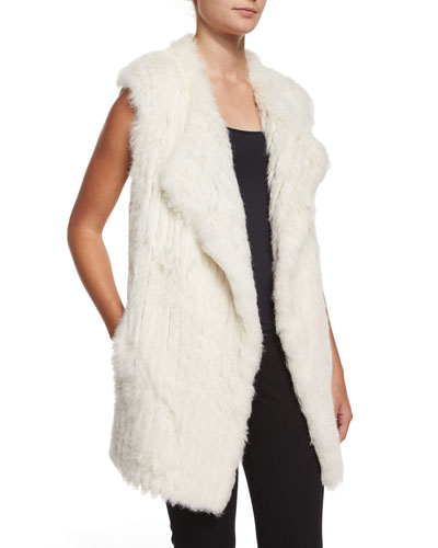 Denver Open-Front Rabbit-Fur Vest, Ivory