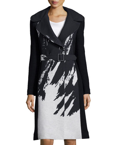 Incognito Brushstroke-Print Wool-Blend Coat, Black/Chalk