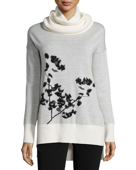 Ahiga Shadow Branches Cowl-Neck Sweater
