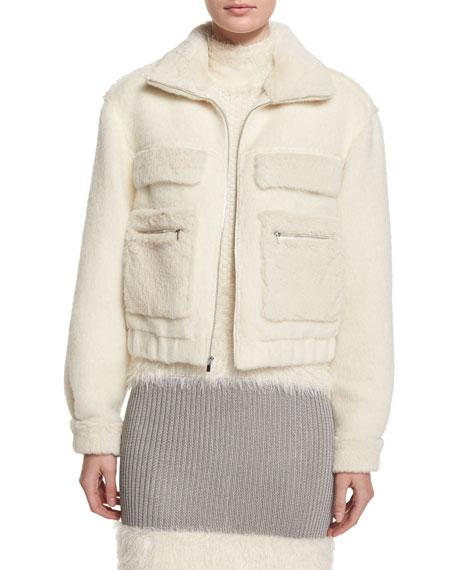 Diane von Furstenberg Plush Zip-Front Bomber Jacket, Winter White