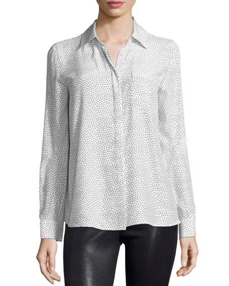 FRAME DENIM Le Boyfriend Classic Shirt, White/Black Polka