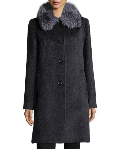 Sofia Cashmere Fur-Collar Button-Front Car Coat, Charcoal