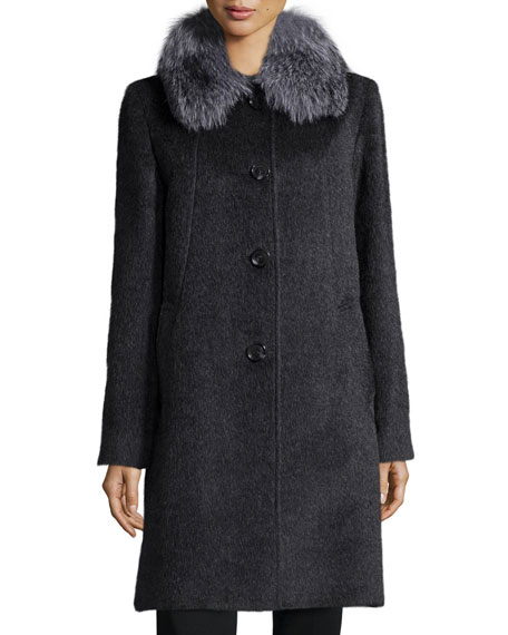 Fur-Collar Button-Front Car Coat, Charcoal