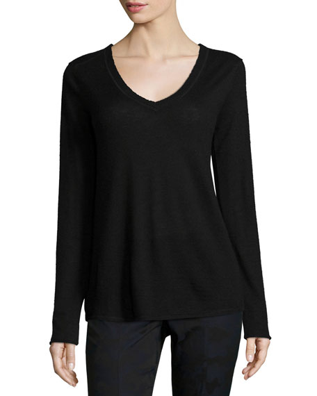ATM Cashmere V-Neck Sweater, Black