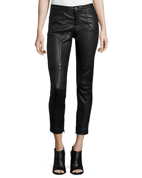 ATM Leather Stretch Moto Pants, Black