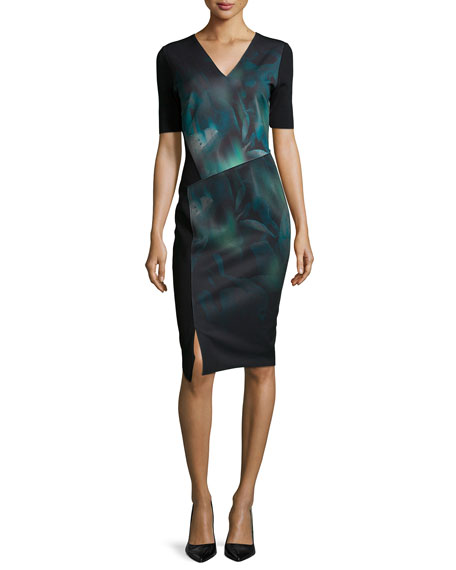 Tahari Woman Betsy Short-Sleeve Misty Bloom Printed Dress