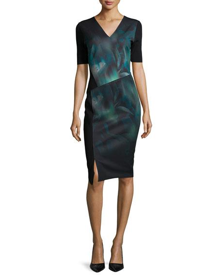 Tahari Woman Betsy Short-Sleeve Misty Bloom Printed Dress