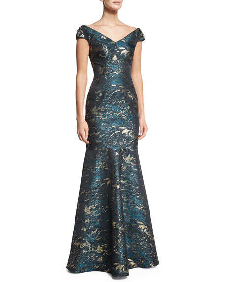 Cap-Sleeve Brocade Mermaid Gown