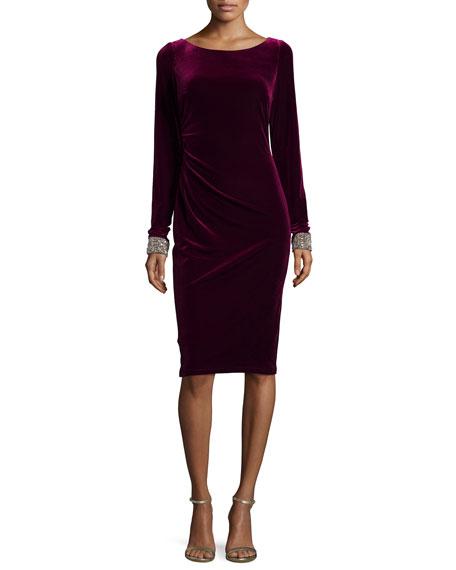 David Meister Long-Sleeve Velvet Dress W/ Beaded Cuffs