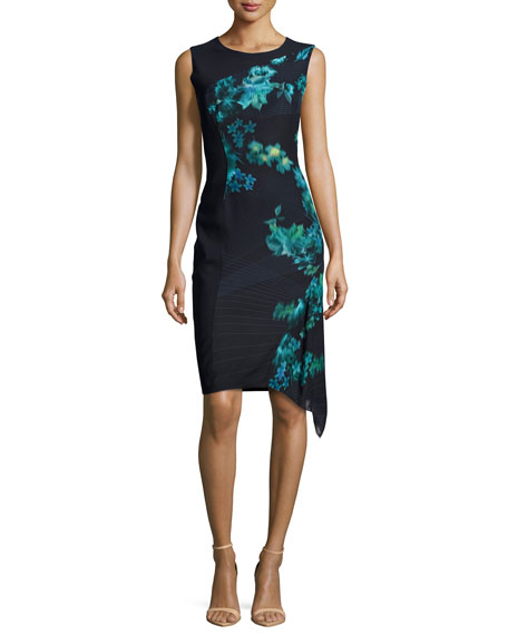 Elie Tahari Wynn Floral-Print Asymmetric Dress