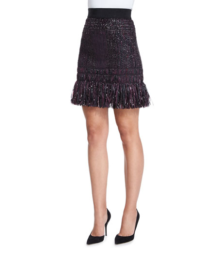 Milly Couture Tweed Fringe Skirt Neiman Marcus