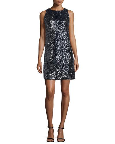 Stretch Sequined A-Line Dress