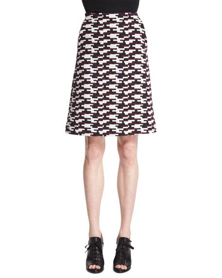 Jil Sander Navy Geometric-Print Jacquard Skirt