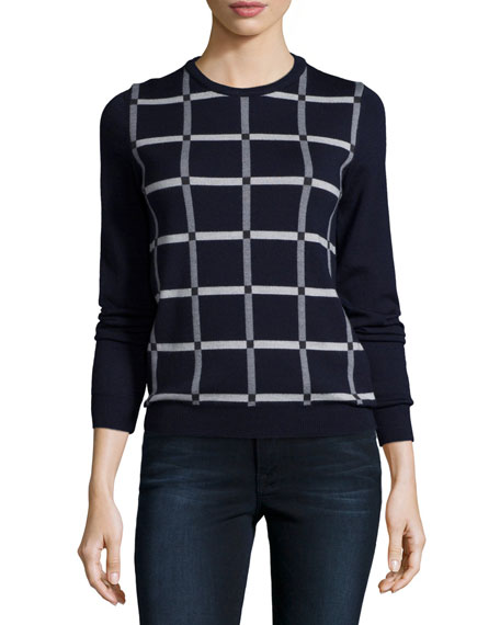 Jil Sander Navy Grid-Front Knit Sweater