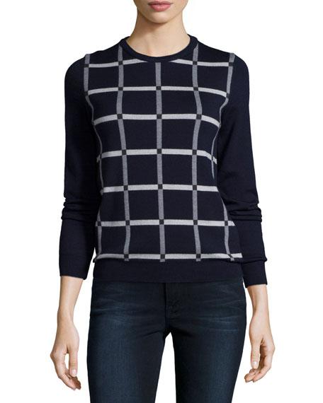 Jil Sander Navy Grid-Front Knit Sweater