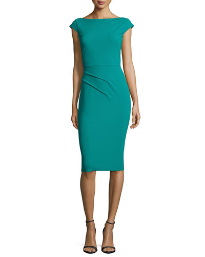 Mila Cap-Sleeve Ruched Sheath Cocktail Dress