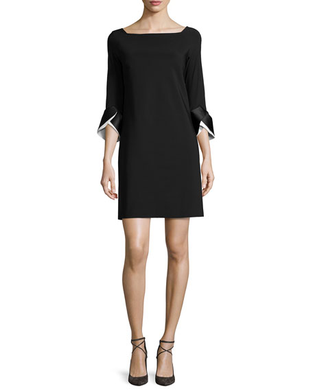 Sheila 3/4-Sleeve A-line Dress W/ Two-Tone Cuffs