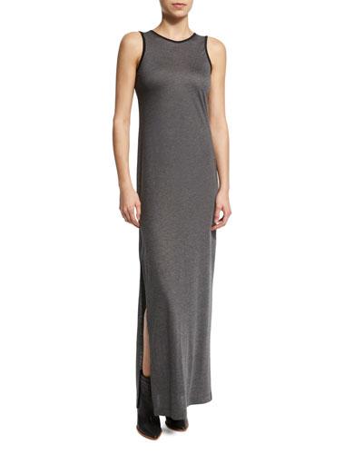 Sleeveless Jersey-Knit Maxi Dress, Gray/Black