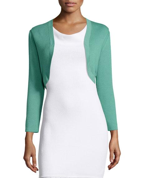Carolina Herrera Cropped-Sleeve Knit Bolero, Tea Green