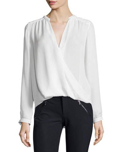 Long-Sleeve Silk Georgette Top, Chalk