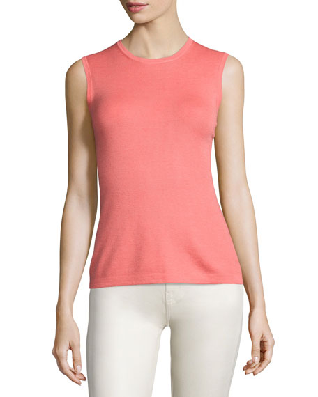 Carolina Herrera Jewel-Neck Knit Shell, Shell Pink