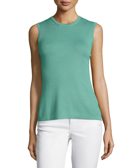 Carolina Herrera Jewel-Neck Knit Shell, Tea Green