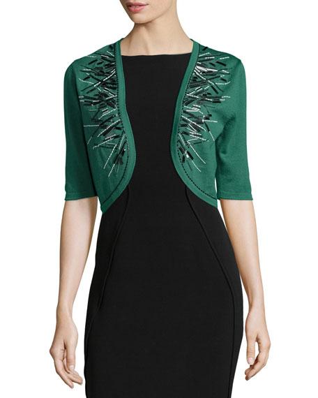 Carolina Herrera Embellished Knit Bolero, Green Bay