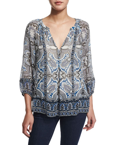 Gloria D Paisley-Print Silk Top