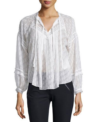 Lace-Trim Fil Coupe Top, Chalk