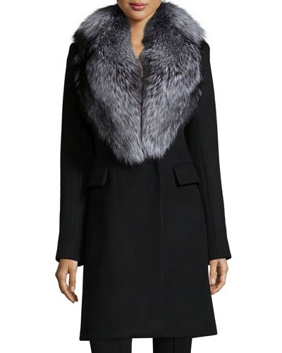 Fur-Collar Wool Coat
