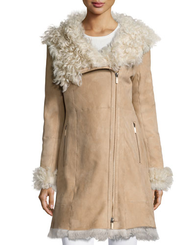 Audrey Shearling-Collar Jacket