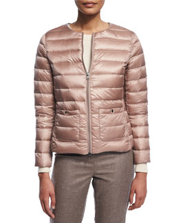 Cropped Two-Zip Puffer Jacket