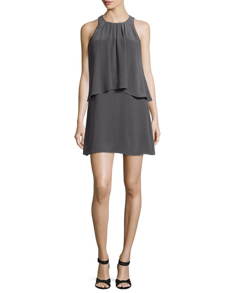 Joie Everla High-Neck Solid Silk Dress