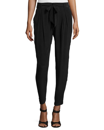 Rutilda Pleated-Front Pants, Caviar
