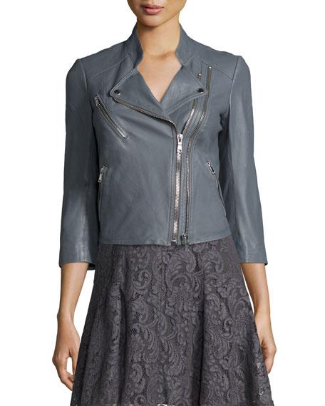 Casella Asymmetric-Zip Leather Jacket