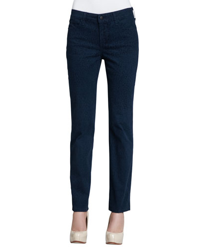Sheri Cheetah-Print Skinny Pants, Blue