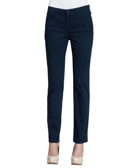 NYDJ Sheri Cheetah-Print Skinny Pants, Blue