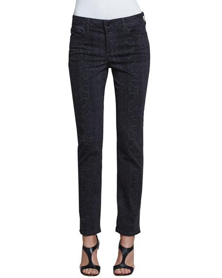 Sheri Python-Print Skinny Pants, Petite