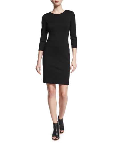 3/4-Sleeve Punto Milano Sheath Dress