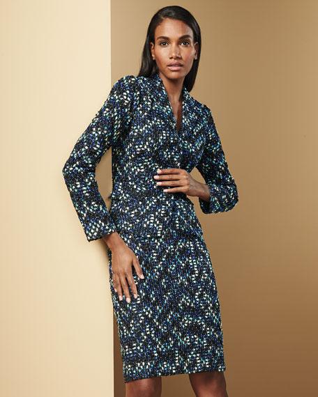 Kay Unger New York Metallic-Tweed Jacket & Skirt, Black/Blue